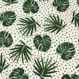tissu-de-coton-feuillage-feuilles-vertes-et-pois-verts-fond-blanc