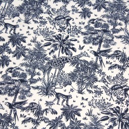 tissu-toile-de-jouy-foret-tropicale-singes-et-girafes-tons-bleus-blancs-oeko-tex
